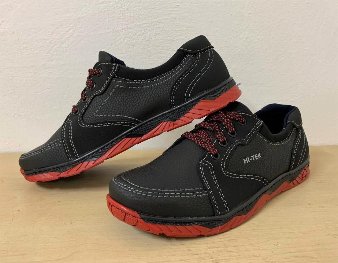 Кроссовки туфли осенние для мужчин черные на красной подошве 45 размер