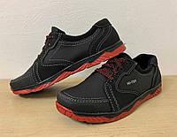 Кроссовки туфли осенние для мужчин черные на красной подошве