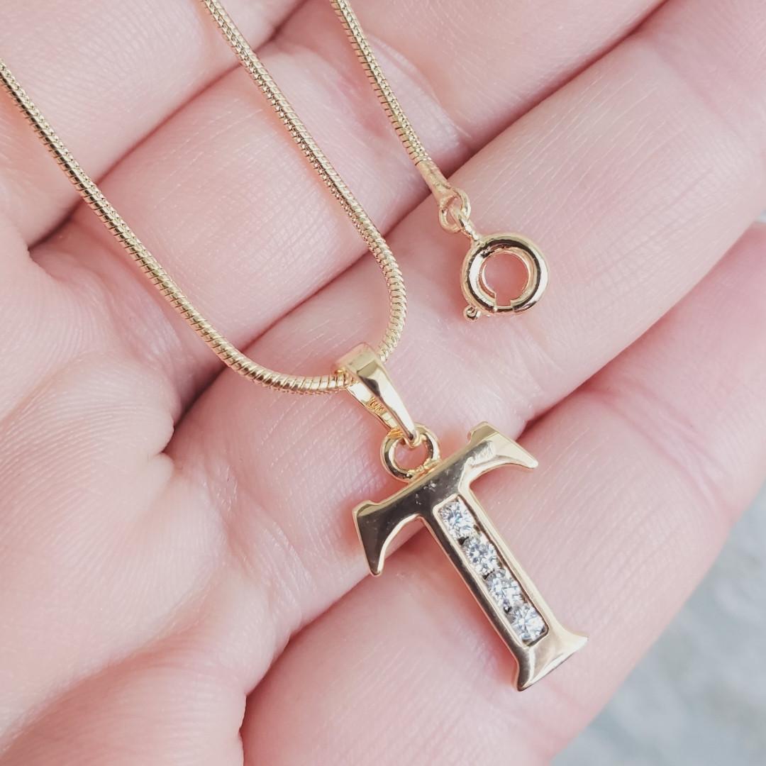 Кулон буква Т с цепочкой снейк 1мм 50см xuping медицинское золото позолота 18К  5289
