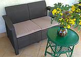 Диван софа для сада и террасы Allibert by Keter Corfu Love Seat искусственный ротанг, фото 10