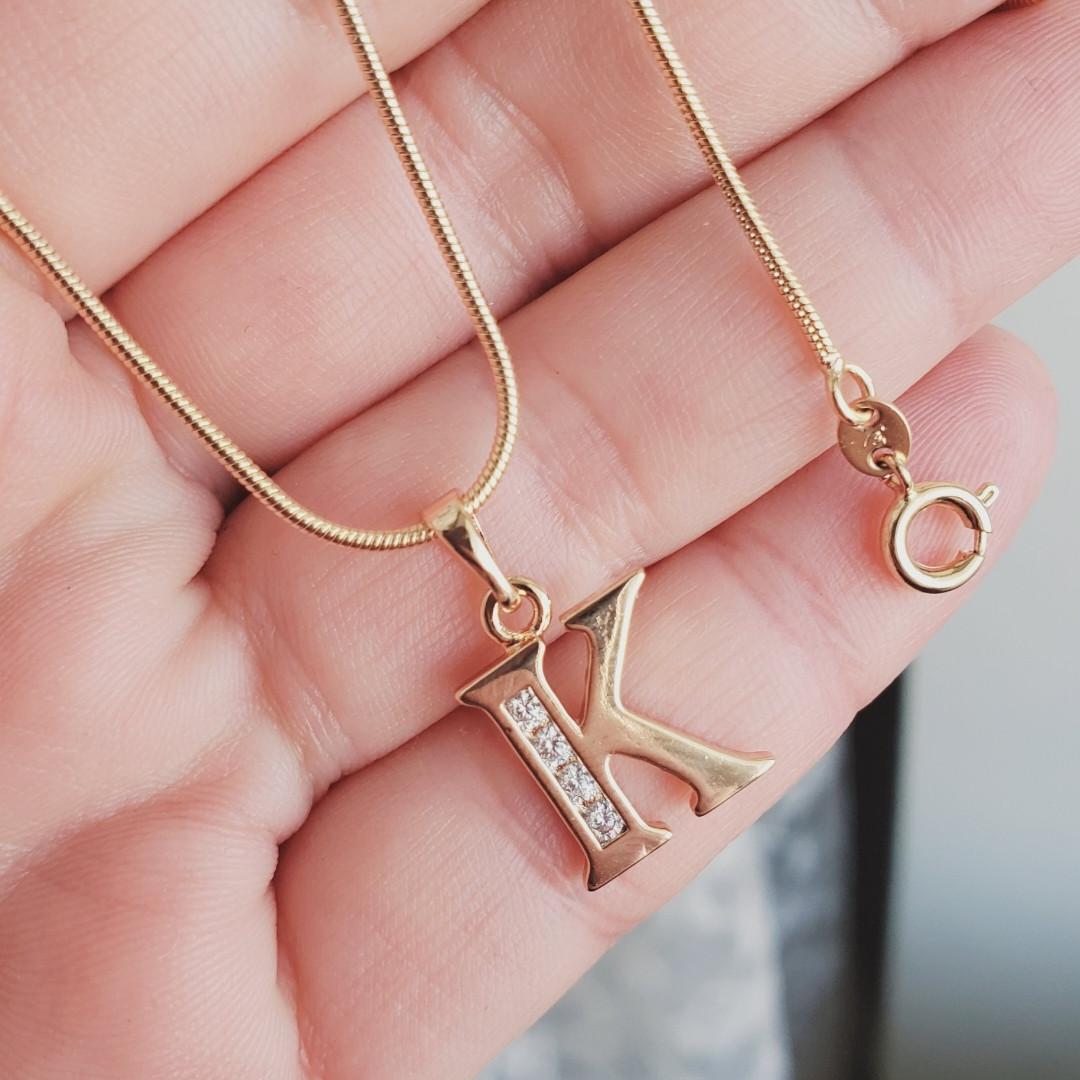 Кулон буква К с цепочкой снейк 1мм 50см xuping медицинское золото позолота 18К  5290