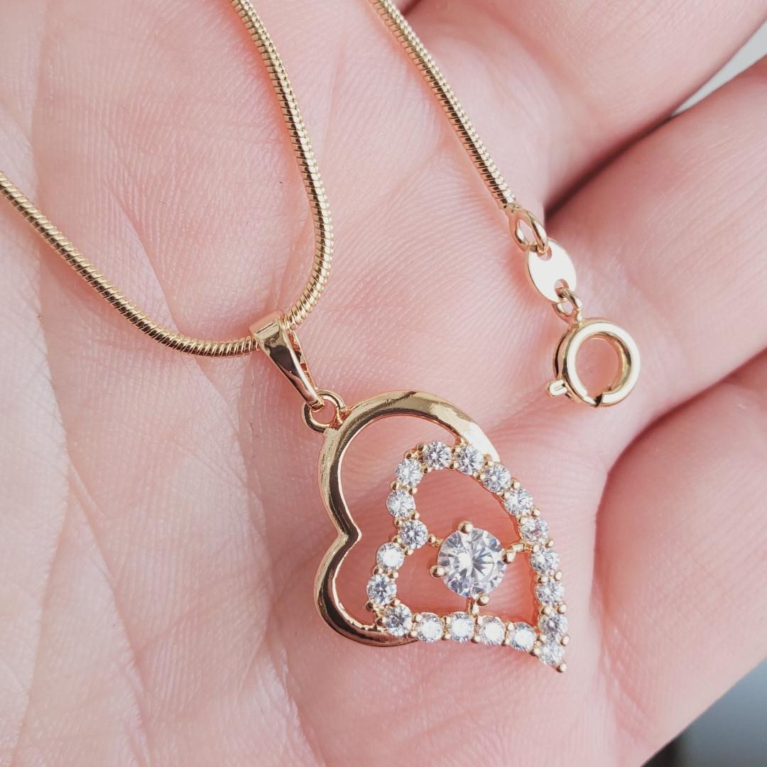 Кулон сердце с цепочкой снейк 1мм 45см xuping медицинское золото позолота 18К  5292
