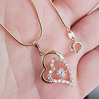 Кулон серце з ланцюжком снейк 1мм 45см xuping медичне золото позолота 18К  5292
