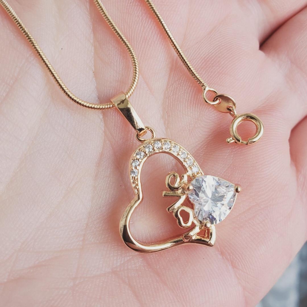 Кулон сердце с цепочкой снейк 1мм 50см xuping медицинское золото позолота 18К  5293