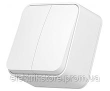 VIDEX BINERA IP20 Выключатель наружный 2кл белый (VF-BNS12-W) (12/120)