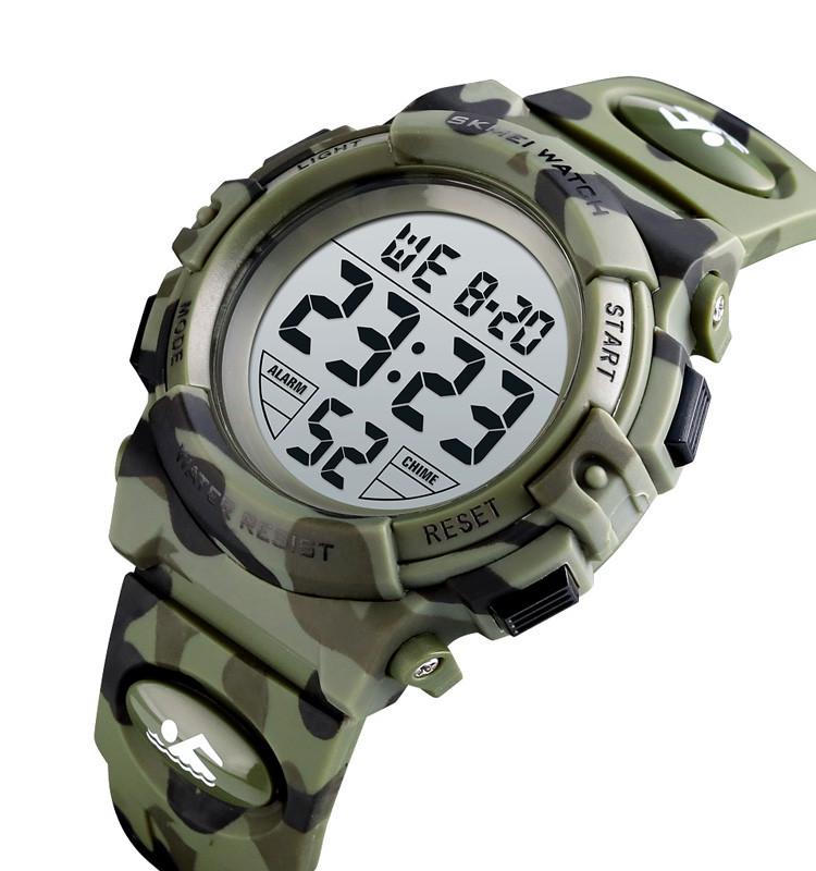 Детские спортивные часы Skmei 1548 kids зеленый камуфляж