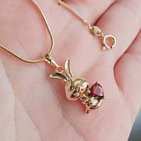 Кулон зайчик с сердцем с цепочкой снейк 1мм 45см xuping медицинское золото позолота 18К  5296