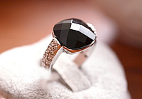 [ Кольцо Черный бриллиант ] Ретро женское кольцо колечко серебро 16.51