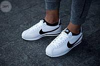 Мужские кроссовки Nike Classic Cortez / Обувь Найк Кортез черно-белые кожаные легкие