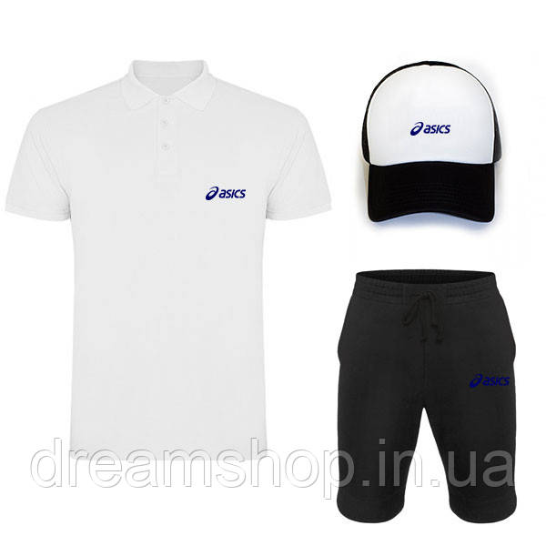 Мужской летний комплект кепка шорты и поло Асикс (Asics)