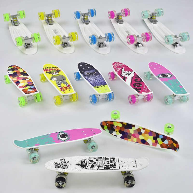 Скейт Пенни борд Best Board, 6 видов, колёса PU, СВЕТЯТСЯ, d=4.5 см, доска=55 см в п/э /8/