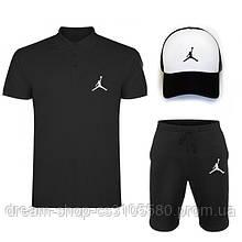 Чоловічий річний комплект кепка шорти і поло Джордан (Jordan)
