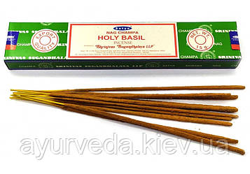 Благовония Священный Базилик, пильцовые, натуральные, Nag Champa Holly Basil (15gm) Satya