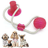 Многофункциональная игрушка для собак канат на присоске с мячом, фото 4