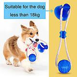 Многофункциональная игрушка для собак канат на присоске с мячом, фото 7
