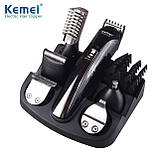 Аккумуляторный набор для стрижки Kemei KM-5900 с 6-ю насадками, фото 3