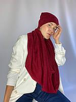 Комплект шапка и снуд  женский теплый зимний  шерстяной бордовый, фото 1