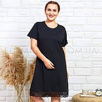 Ночнушка для полных женщин с кружевом 004090, Черный, XL