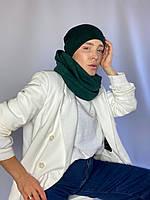 Снуд хомут женский теплый зимний  шерстяной шарф  зеленый, фото 1