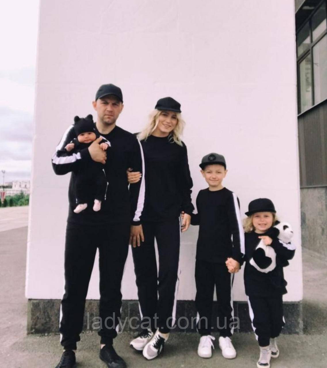 Семейный теплый спортивный костюм черного цвета