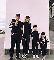 Семейный теплый спортивный костюм черного цвета, фото 1