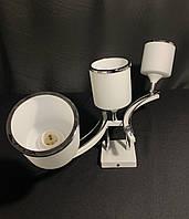 Стельова люстра на 3 лампочки з квадратними плафонами біла, фото 1