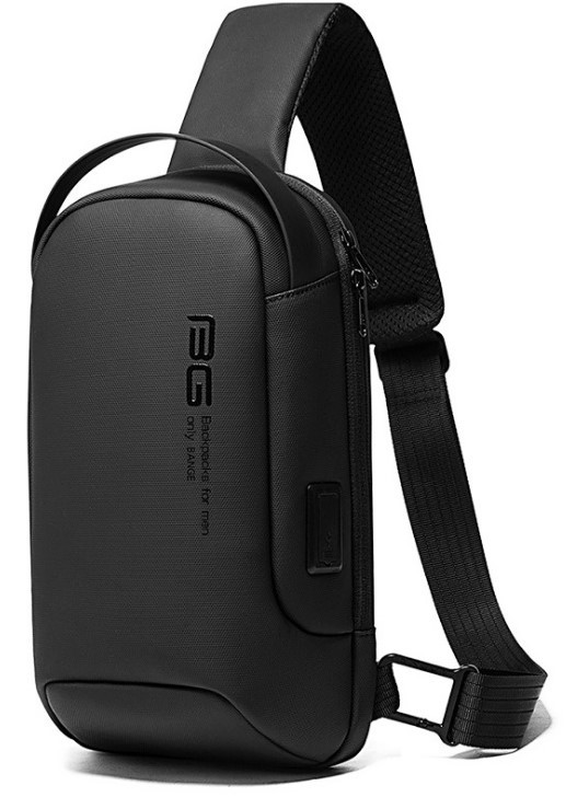 Мужская сумка на грудь Bange BG-7221 USB-порт черная 6л