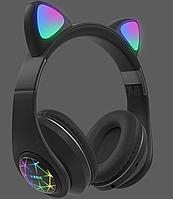 Беспроводные детские Наушники с Ушками с подсветкой + поддержка MicroSD с FM-Радио Cat Ear M2 Bluetooth Черные