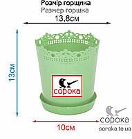 Вазон для цветов Алеана Ришелье 13см салатовый 0,9л (Горшок для растений Алеана Ришелье с подставкой), фото 2