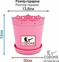 Вазон для цветов Алеана Ришелье 13см розовый 0,9л (Горшок для растений Алеана Ришелье с подставкой), фото 2