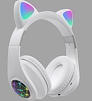 Беспроводные детские Наушники с Ушками с подсветкой + поддержка MicroSD с FM-Радио Cat Ear M2 Bluetooth Белые