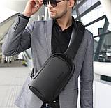 Мужская сумка на грудь Bange BG-7221 USB-порт черная 6л, фото 3