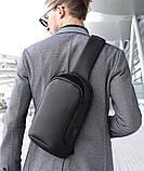 Мужская сумка на грудь Bange BG-7221 USB-порт черная 6л, фото 4