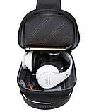 Мужская сумка на грудь Bange BG-7221 USB-порт черная 6л, фото 5
