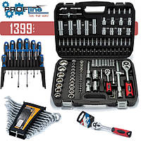 Набор инструмента 4в1 за 1399 грн. (108 ед.PROFLINE + Набор ключей 12 ед.+ Набор отверток 18 шт. + Трещотка)