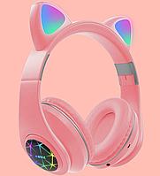 Беспроводные детские Наушники с Ушками с подсветкой +поддержка MicroSD с FM-Радио Cat Ear M2 Bluetooth Розовые