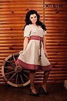 Женское платье из льна с вышивкой, размер 44