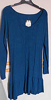Синяя туника с оборкой  из шерстяной ткани Take- it