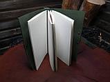 Кожаный тёмно-зеленый блокнот,  гравировка и подарочная коробка в подарок!, фото 2