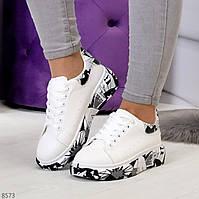 Белые женские демисезонные кроссовки, молодежные кросовки с принтом, купить недорого, Размер 36 37 38 39 40 41