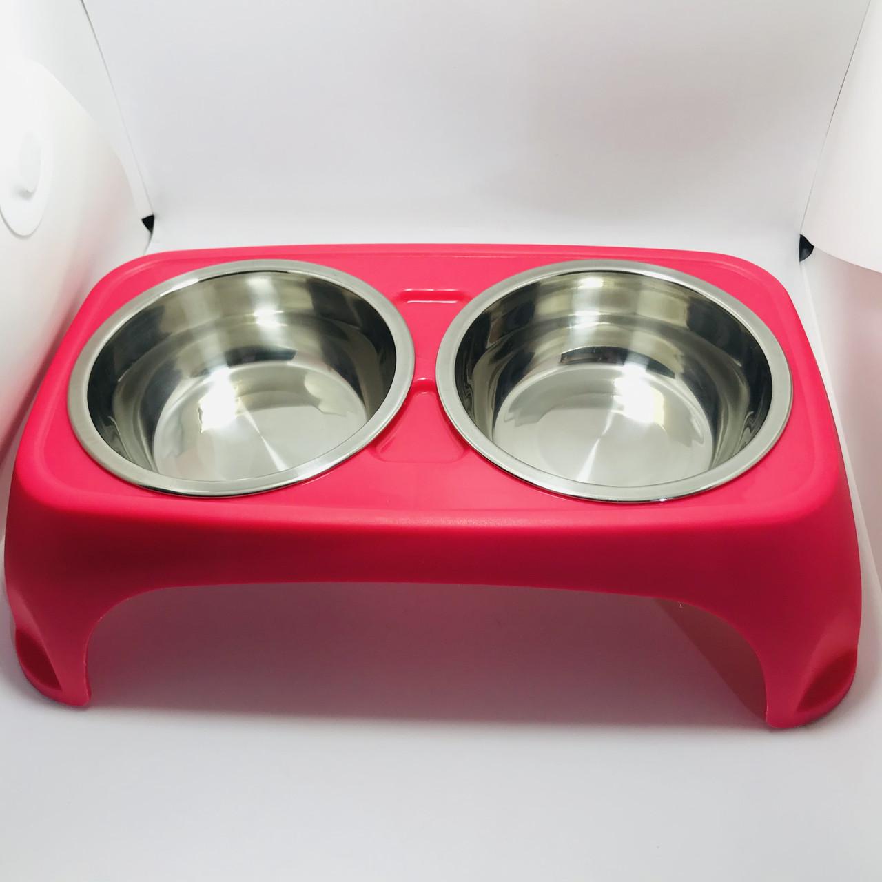 Столик бар з двома металевими мисками пластиковий для собак 400мл SY-A029