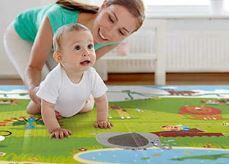 Детский игровой коврик 0,5 см толстый коврик с двойной поверхностью (Синяя обводка)