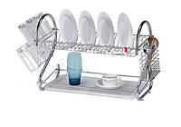 Сушилка для посуды металлическая двухярусная Clean House New Arrival, фото 1