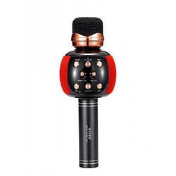 Беспроводной микрофон караоке блютуз WSTER WS-2911 Bluetooth динамик USB Чёрный с красным