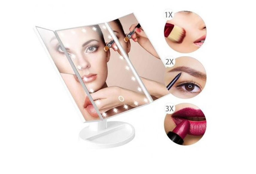 Косметическое настольное зеркало с подсветкой