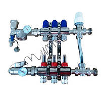 Коллектор для теплого пола в сборе с трехходовым клапаном на 2 контура, фото 1