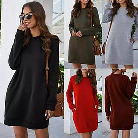 Женское платье однотонное, стильное. Размер:42-44,46-48. Цвет:черный,красный,серый,бордо.