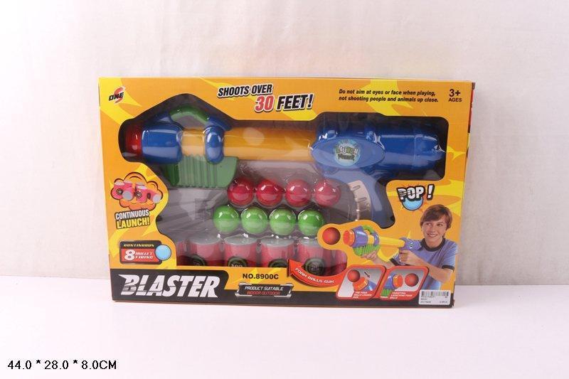 Бластер стріляє кулями мішені у виді поролон бочок в коробці 8900C
