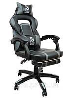 Поворотне ігрове спортивне крісло DEUS LARGE сіре Ігрове Геймерское кресло ігровий стілець для гравців