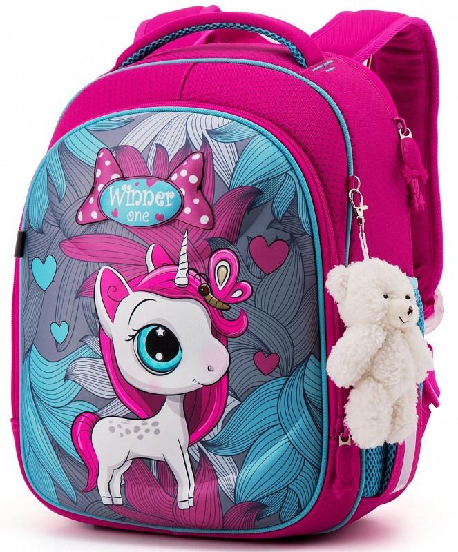 Рюкзак школьный ортопедический для девочки каркасный в 1-3 класс Пони Единорог Winner One 6012